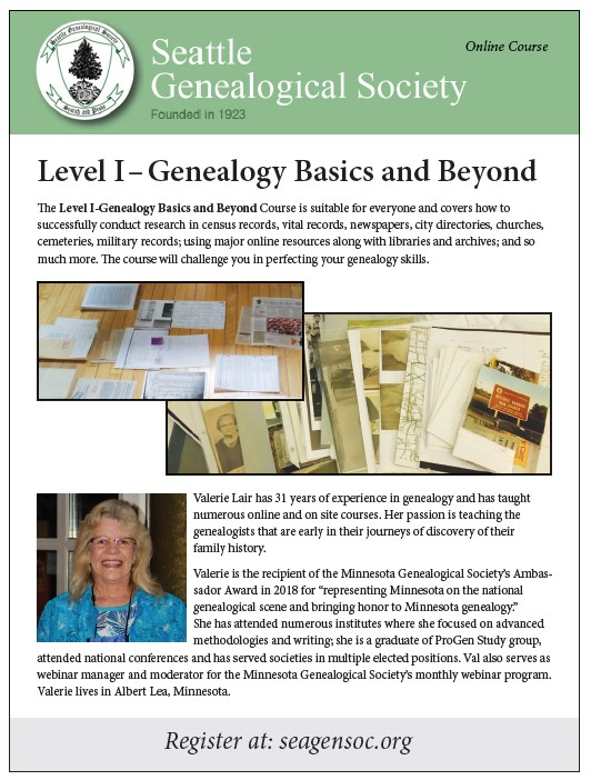 Level I-Genealogy Basics and Beyond